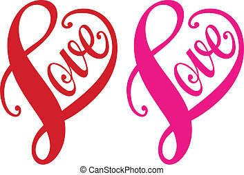 hart, liefde, vector, rood, ontwerp