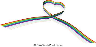 hart, lint, regenboog, gekleurd, vorm