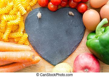 hart, natuurlijke , vegatables, voedingsmiddelen, gezonde , vorm, fruit, groepen