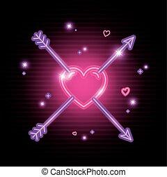 hart, neon ontsteken, pijl, dag, valentijn
