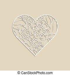 hart, ornament., floral, hand, getrokken, vorm