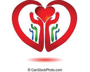 hart, pictogram, vector, holdingshanden