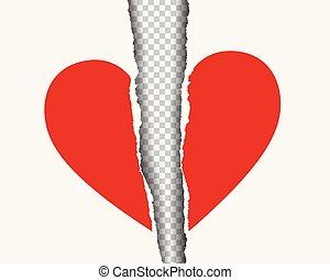 hart, realistisch, gescheurd, vrijstaand, illustratie, papier, achtergrond, vector, transparant, rood, schaduw
