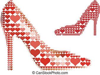 hart, schoen, rood, model