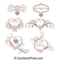 hart, set, decoratief, tekst, frame, zes, plek, jouw