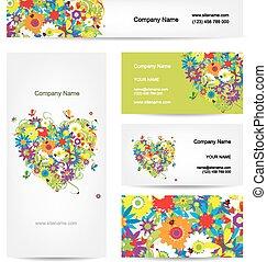 hart, set, kaarten, ontwerp, floral, jouw
