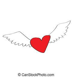 hart, spotprent, engel
