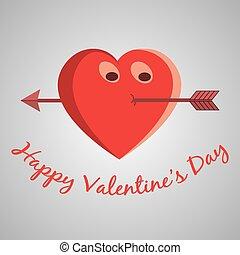 hart, spotprent, valentijn