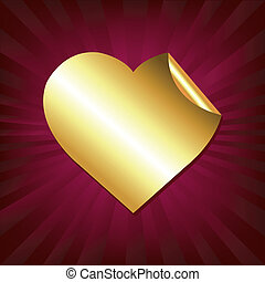 hart, sticker, goud