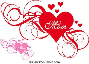 hart, swirls, dag, rood, moeder