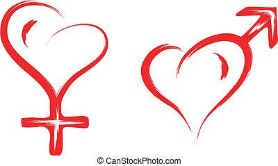 hart, symbool, mannelijke , vrouwlijk, geslacht