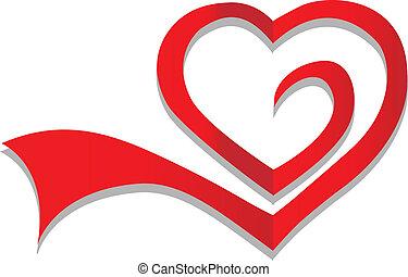 hart, symbool, vector, logo