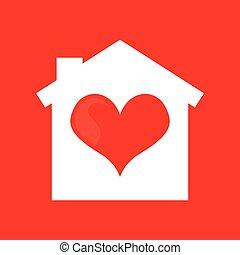 hart, thuis, ontwerp