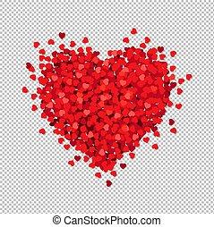 hart, transparant, vrijstaand, achtergrond, rood