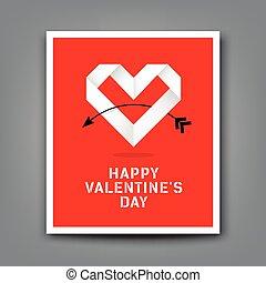 hart, valentijn, papier, achtergrond, origami, dag, vrolijke
