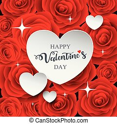 hart, valentine, papier, witte , dag, vrolijke