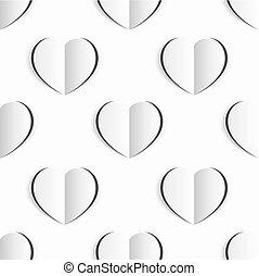 hart, valentines, seamless, papier, achtergrond, witte