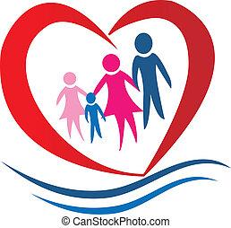 hart, vector, gezin, logo