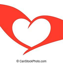 hart, vector, rood, illustratie