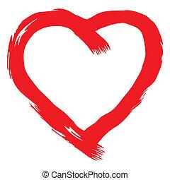 hart, vector, rood, met de hand geschreven