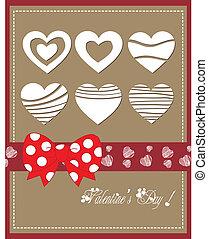 hart, vrolijke , boog, dag, valentijn