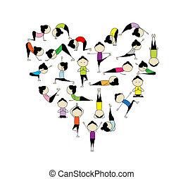 hart, yoga!, vorm, ontwerp, liefde, jouw