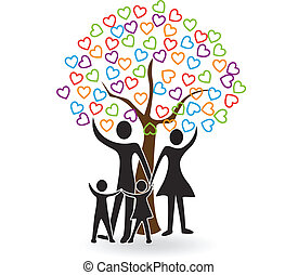hartjes, boompje, gezin, logo