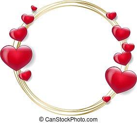 hartjes, dag, valentines, rood