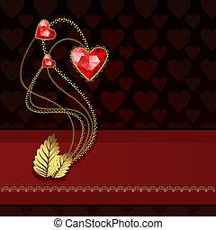 hartjes, diamant, drie, rood