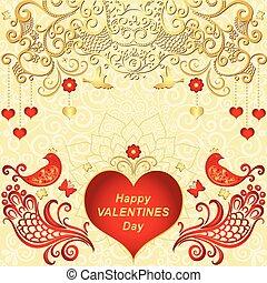 hartjes, frame, valentines, rood, goud