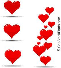 hartjes, iconen, dag, valentine