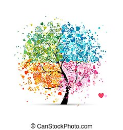 hartjes, jaargetijden, -, zomer, jouw, boompje, vier, herfst, kunst, winter., lente, gemaakt, ontwerp