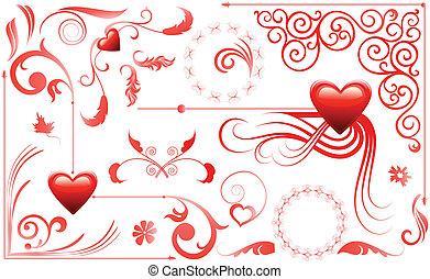 hartjes, set, liefde, valentijn