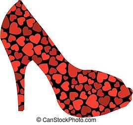 hartjes, stiletto, rood