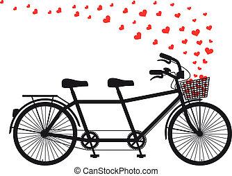hartjes, tandem fiets, rood