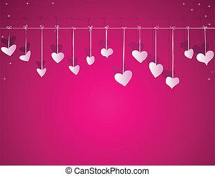 hartjes, vector, dag, achtergrond, valentijn