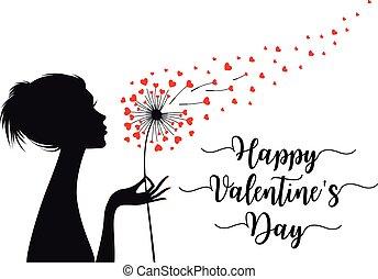 hartjes, vector, valentines, paardenbloem, vrouw, kaart, vasthouden, dag