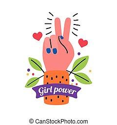 hartjes, vrede, hand, liefde, vector, bladeren, macht, ontwerp, meisje