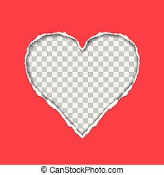 hartvormig, gescheurd document, achtergrond, transparant, rood