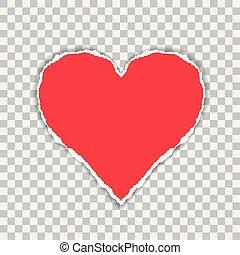hartvormig, gescheurd, groet, achtergrond, papier, rood, suitable, transparant, kaart