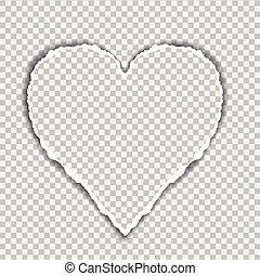 hartvormig, gescheurd, groet, achtergrond, papier, suitable, transparant, kaart