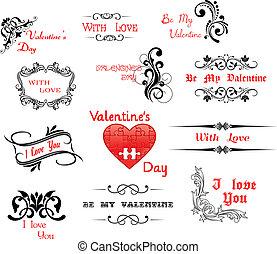 headers, valentine', liefde, dag, calligraphic