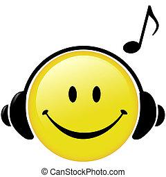 headphones, aantekening, muzikalisch, vrolijke , muziek