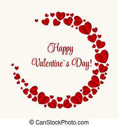 heart., valentines, illustratie, vector, dag, kaart, vrolijke