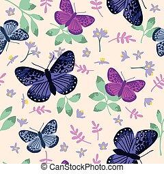 helder, model, bladeren, vlinder, seamless, textuur, hand, flowers., vector, ontwerp, getrokken