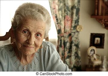 helder, vrouw, eyes, bejaarden