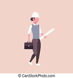 helm, blauwdruken, concept, vasthouden, vrouw, gerolde, industrie, op, plat, plan, lengte, volle, architect, vrouwlijk, panning, professioneel, bouwsector, ingenieur, vrolijke , beroep