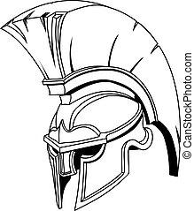 helm, of, trojaan, spartan, griekse , illustratie, romein, gladiator