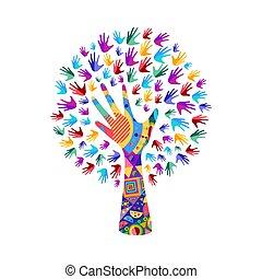 helpen, handen, werken, boompje, menselijk, sociaal