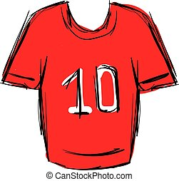 hemd, vector, achtergrond., illustratie, rood wit